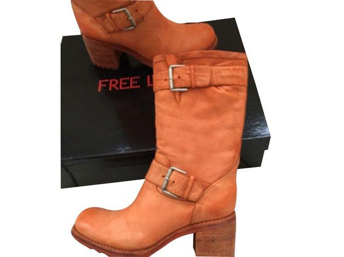 bottes free lance bottes cuir orange joli closet. Black Bedroom Furniture Sets. Home Design Ideas