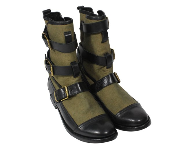 Burberry Boots Ankle Boots Leather,Cloth Black,Khaki ref.17227