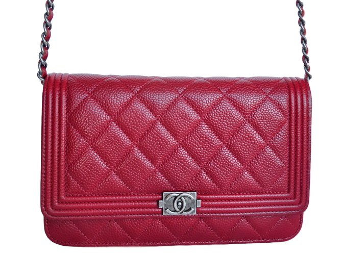 2f3e742b4fa9 Chanel WOC Wallet On Chain Clutch bags Leather Dark red ref.17444 ...