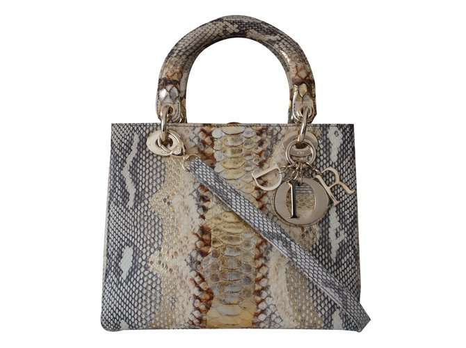 Christian Dior Dior python and Handbags Exotic leather Golden ref.17653 9cd53deccee08