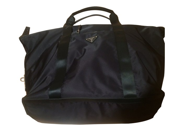 Prada Duffle Bag Travel Nylon Black Ref 17703 Joli Closet
