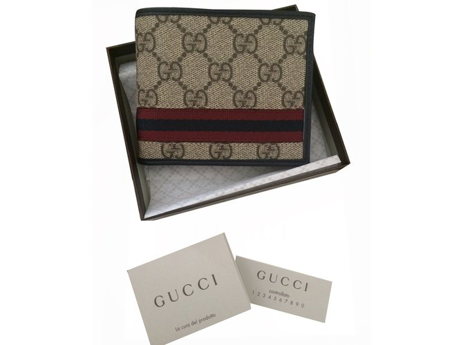 Petite Maroquinerie Homme Gucci Portefeuille Cuir Beige Ref17706
