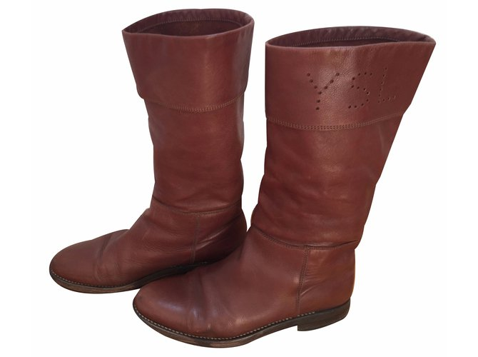 498a52558bd Yves Saint Laurent Boots Boots Leather Brown ref.17783 - Joli Closet