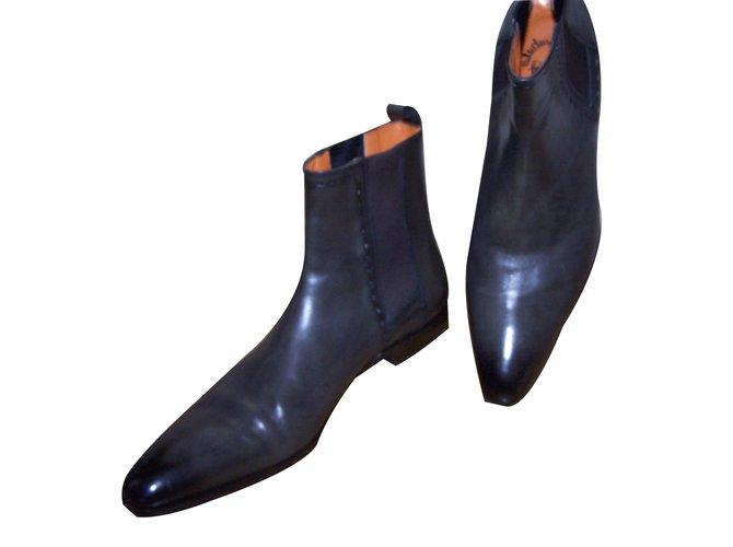 7afeb3329a442 Bottes, boots Santoni Bottes, boots Cuir Gris ref.17784 - Joli Closet