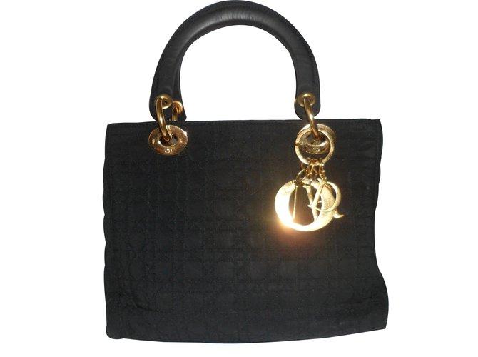 Sacs à main Dior Lady Dior Tissu Noir ref.17845 - Joli Closet a676df4fe7d