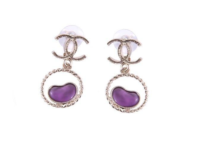 Boucles d'oreilles Chanel Boucles d'oreilles Métal Violet ref.17902