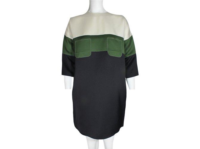 Céline Dress Dresses Silk,Wool Black,Green,Cream ref.18054