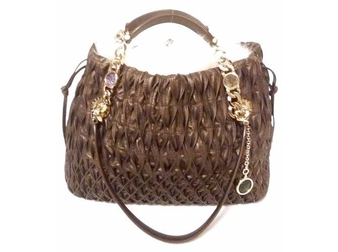 Bulgari MONETE Handbags Leather Brown ref.18155 - Joli Closet 0e8dd8a18417a