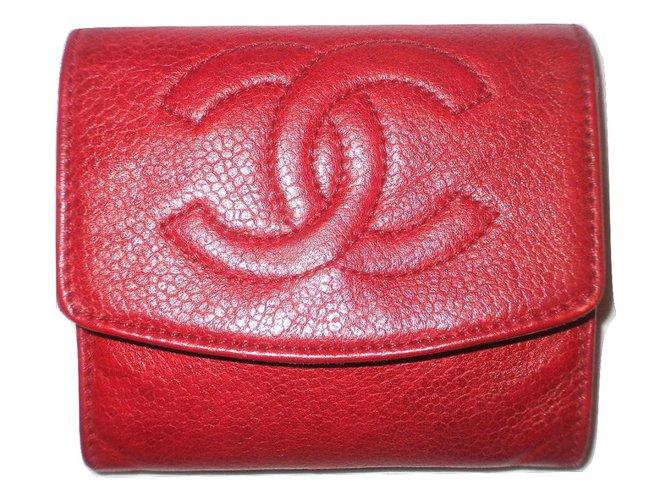 20cda65fe73a Petite maroquinerie Chanel CHANEL portefeuille vintage en cuir caviar Cuir  Rouge ref.18509
