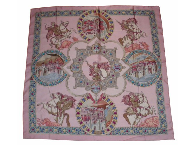 e9f01e24fc Hermès Le TRIOMPHE du PALADIN Silk scarves Silk Multiple colors ref.18534