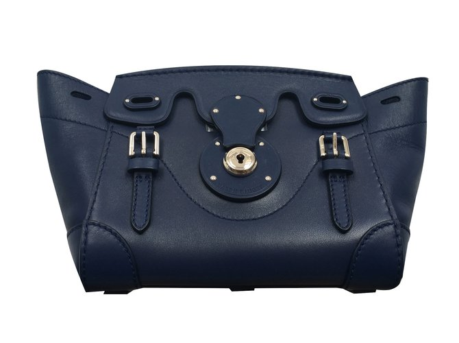 af7e465de415 Ralph Lauren Collection Ralph Lauren Navy Mini Ricky Bag Handbags Leather  Blue ref.18734