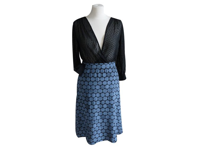 Madame A Paris Dresses Blue Silk  ref.18763