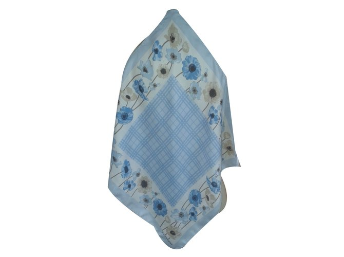 Burberry Scarf Scarves Silk Blue ref.18822