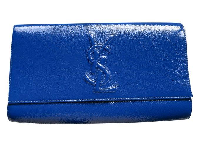 4aea2f7a4d Yves Saint Laurent Clutch bags Clutch bags Patent leather Blue ref.19318