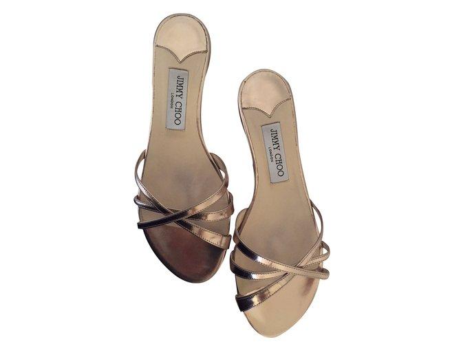 Sandales Jimmy Choo Sandales plates Cuir Doré ref.19666 - Joli Closet ab4a4b178b7