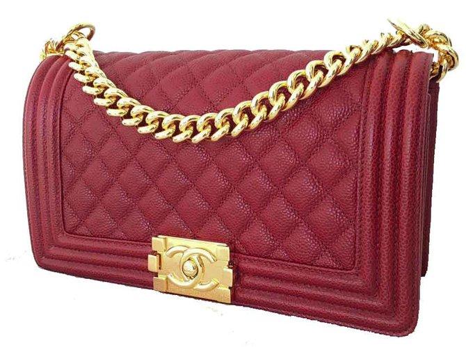 f11e390a925e4b Chanel Boy CHANEL GHW Handbags Leather Dark red ref.19871 - Joli Closet