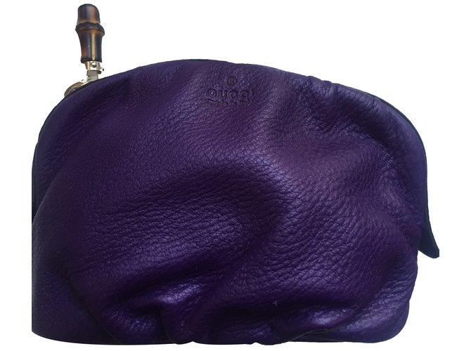 Pochettes Gucci Pochette Cuir Violet ref.20257