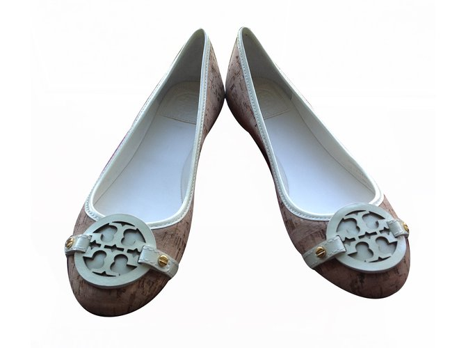313df769827 Tory Burch Aaden Ballet cork natural ivory Ballet flats Leather Multiple  colors ref.20577