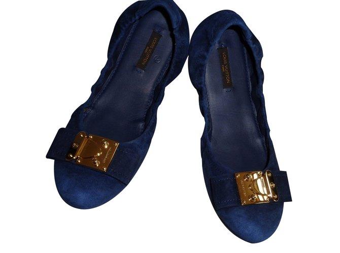 94fd76a46a2e Louis Vuitton Ballet flats Ballet flats Deerskin Blue ref.20958 ...