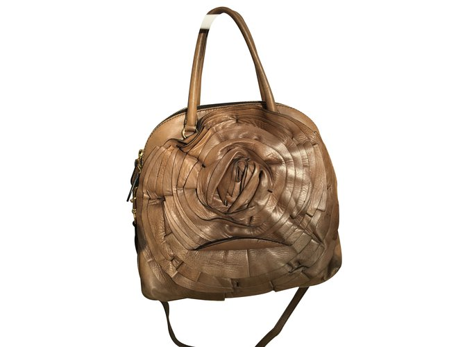 334aee2ce55 Valentino Valentino taupe leather rose petale dome tote/ satchel Handbags  Leather Other ref.20969