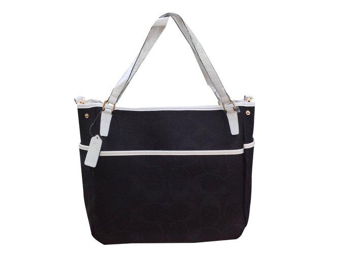 Coach Coach Signature Fabric Large Black Tote Handbags Cloth Multiple  colors ref.20970 4aa954842d560