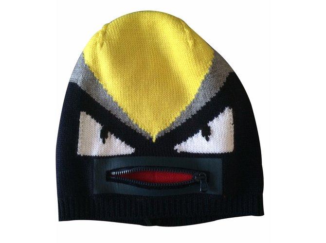 Chapeaux, bonnets, gants Fendi Bonnet Bugs Laine Multicolore ref.21332