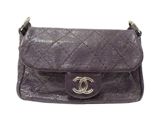 68af5a289f7f Chanel Chanel Road Flap Shoulder Bag Handbags Leather Purple ref.21619
