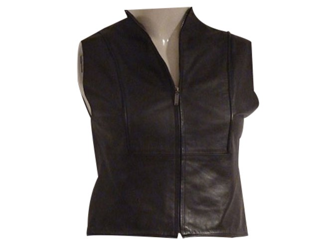 Chanel Chanel Pre-Fall 1999 Vest Jackets Leather Brown ref.21758
