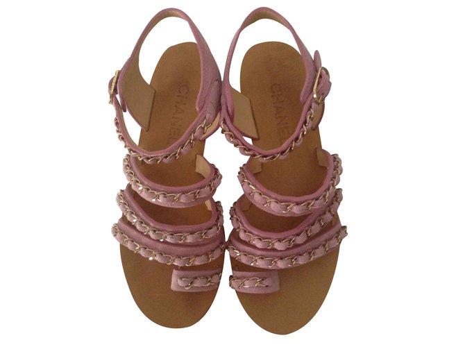 cdd7b307f2f6 Chanel Sandals Sandals Leather Pink ref.21812 - Joli Closet