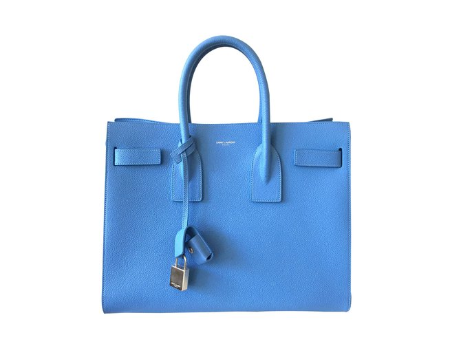 Yves Saint Lau Handbag Handbags Leather Blue Ref 21917