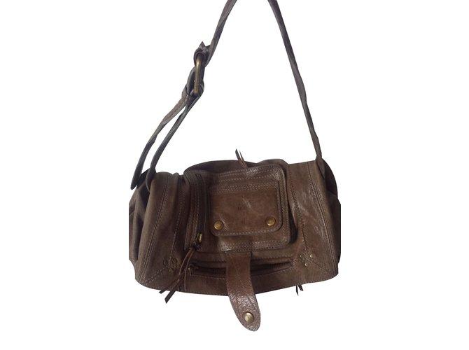 d56862127668b Jerome Dreyfuss Handbag Handbags Leather Taupe ref.21928 - Joli Closet