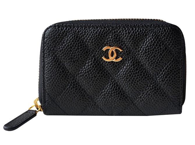 c590ef980af7 Chanel Card holder wallet Wallets Leather Black ref.21971 - Joli Closet
