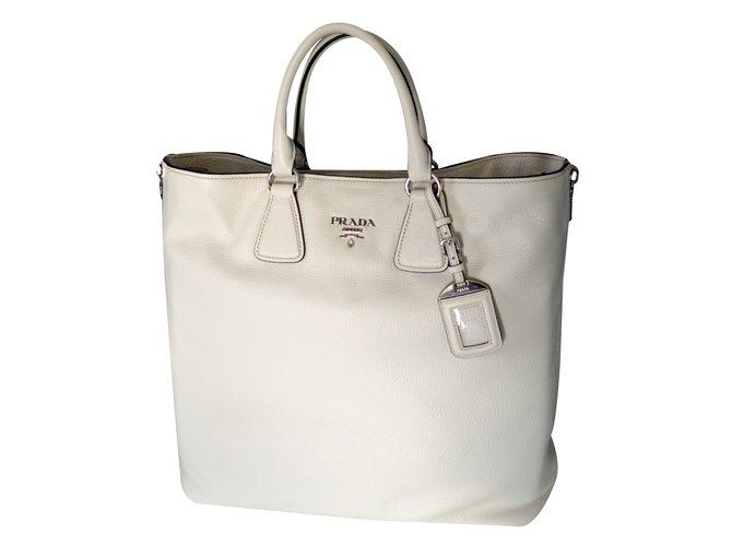 995478fe282e Prada Prada vitello phenix talco textured leather shopping tote bag bn2419  original Handbags Leather White ref