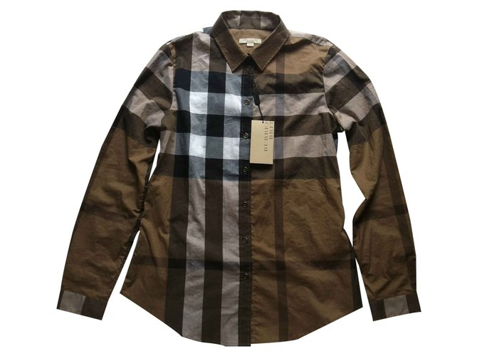 8d522a807828 Tops Burberry Brit Chemise burberry shirt check dark camel taille   size - s  ( m