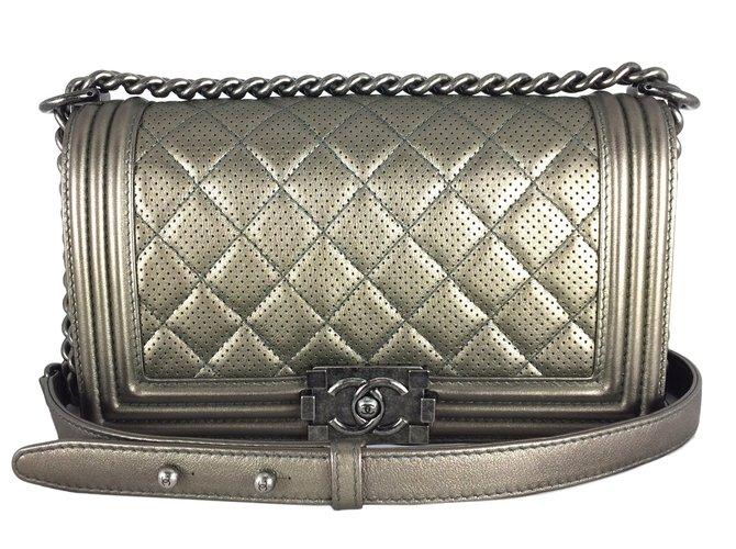 2733cdfdebbc Chanel Chanel Boy Bronze Perforated Medium Handbags Leather Bronze ref.22163