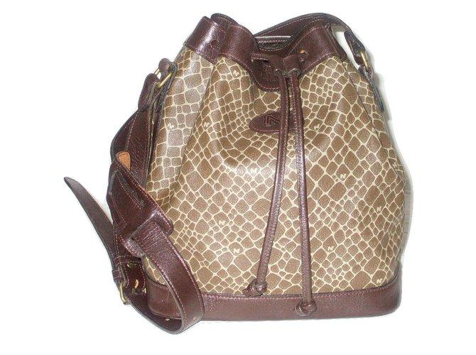 Nina Ricci Vintage Bucket Bag Handbags Synthetic Brown Ref 22891