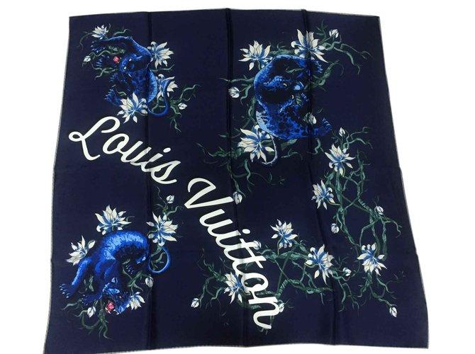 Carrés Louis Vuitton Foulard en soie noire Soie Bleu Marine ref.23432