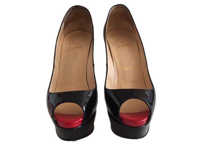 58efa18793e3 Christian Louboutin Lady peep Heels Patent leather Black ref.23789 ...
