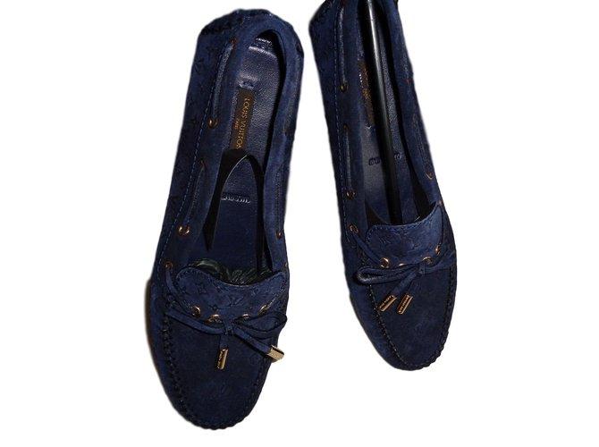 a362a307afff Louis Vuitton Flats Flats Deerskin Blue ref.24010 - Joli Closet