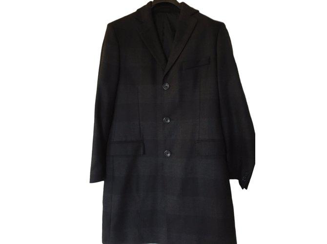Versace Coat Men Coats Outerwear Wool Black ref.24349 - Joli Closet