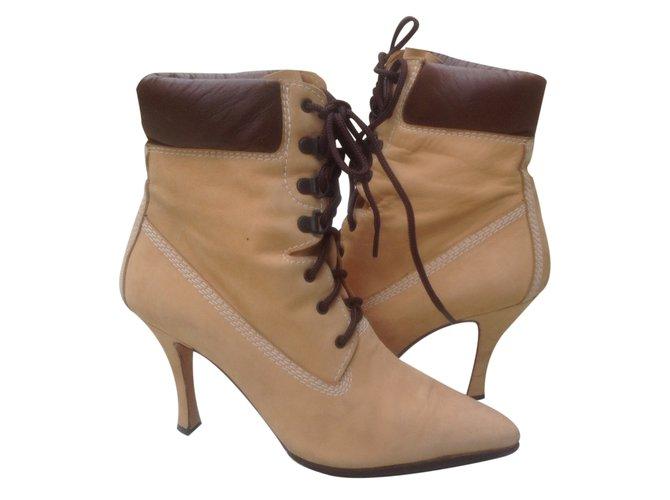 Manolo Blahnik Oklamod Timbs Ankle Boots Leather  ref.24734