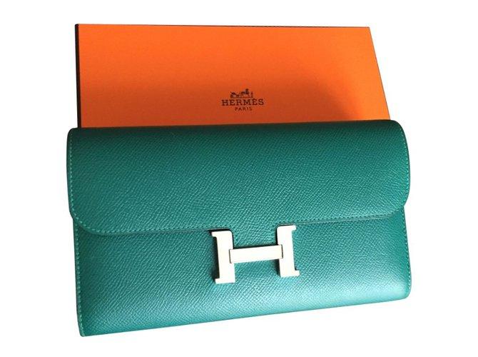 8407abbd54 Petite maroquinerie Hermès Portefeuille Constance long Cuir Vert ref.24765