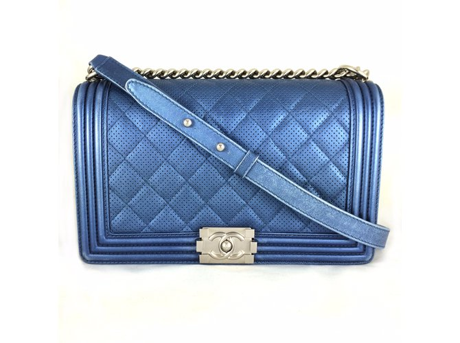 701c15ad4cb9 Chanel Boy Blue Perforated Quilted Flap Handbags Leather Blue ref.24803