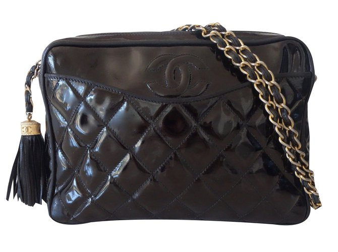 cf65f676af2e Chanel CAMERA VINTAGE POMPON Handbags Patent leather Black ref.24989 ...