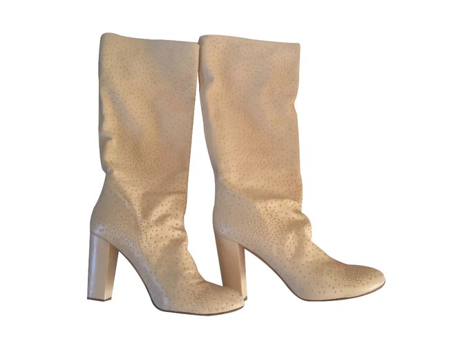 Chloé Boots Boots Leather Beige ref.25001