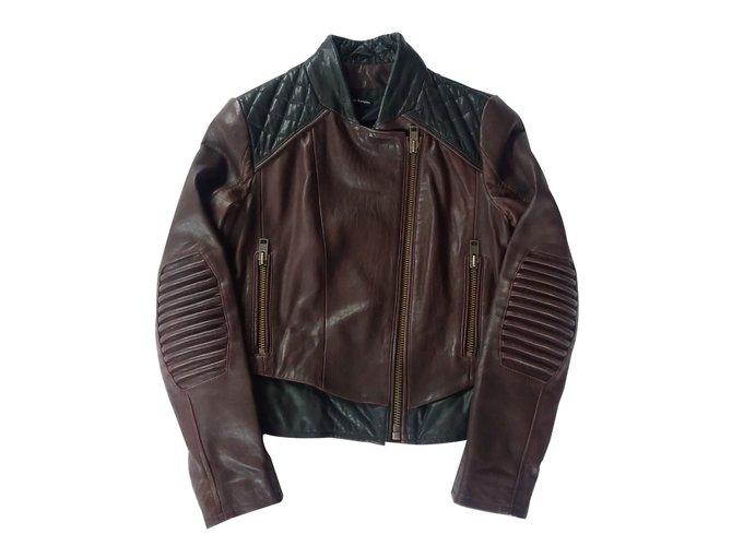86bb5af5df The Kooples Biker jacket Biker jackets Leather Dark red ref.25304 ...