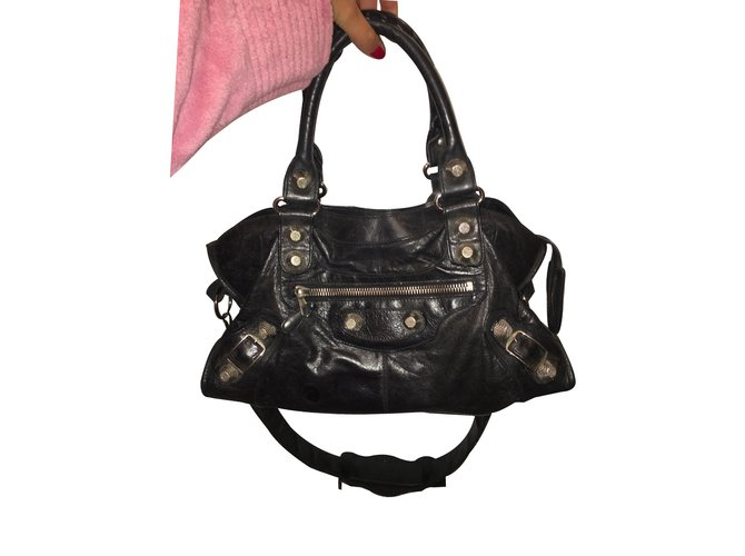 1225319413a5 Balenciaga Handbag Handbags Leather Black ref.25382 - Joli Closet