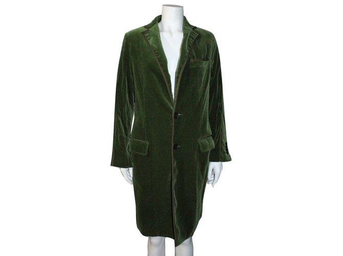 Manteau velours femme vert
