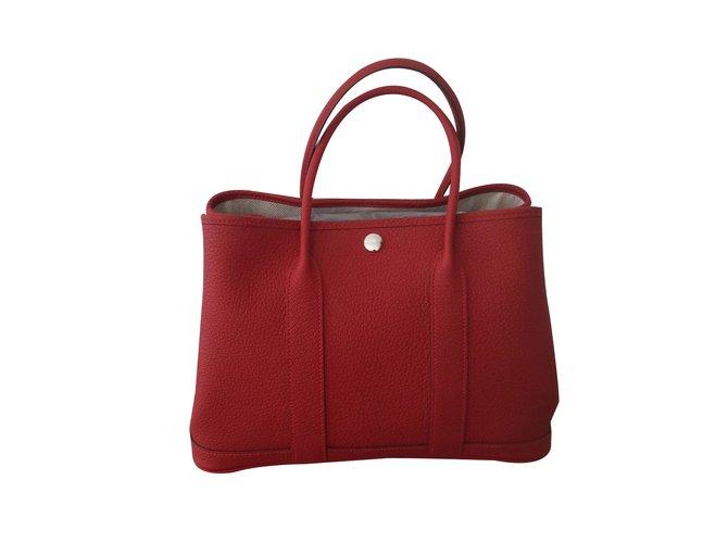 Hermes Garden Party 30 Handbags Leather Red Ref 25738 Joli Closet