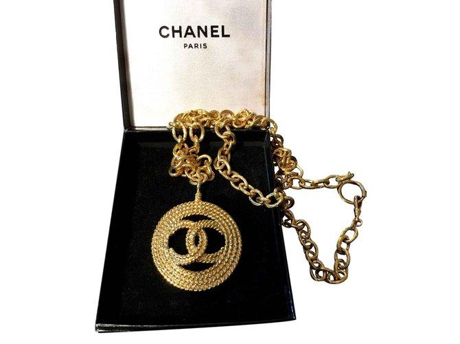 Colliers Chanel Collier sautoir Plaqué or Doré ref.26109